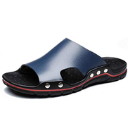 CW-Sandals-0903 Sandals Classic Slippers for Men Outdoor Slides Flat Beach Shoes Round Open Toe Lug Sole Anti-slip Genuine Leather CWCUICAN Color : Dark blue, Size : 47 EU