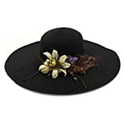 SAIPULIN-AE Summer Hat Crochet Hat Soft Hat Desold Welding Straw Hat Women Flower Wreath Wide Side Beach Hat Color : Black, Size : 56-58CM