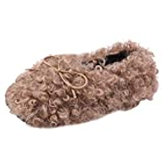 FWEIP Flat Bottom Plush Cotton Shoes Kids Girls Winter Warm Soft Sole Butterfly-knot Slip-On Single Shoes