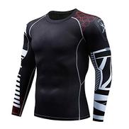 Xuxiaojuanye Flat Collar Compression Shirts Men's Sports Tops Fitness Shirt Compression Baselayer T Shirt Color : Black, Size : XXL