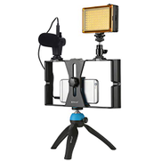 KKmoon PULUZ PKT3023 Smartphone Handheld Filmmaking Video Rig + 96 LEDs LED Studio Light + Video Microphone + Mini Tripod Mount Kits with Cold Shoe Tripod Head for Outdoor Live Broadcast