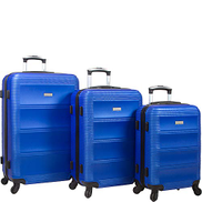 Dejuno Helix 3-Piece Hardside Spinner Luggage Set, Blue, One Size