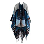 Anself Women Knitted Shawl Poncho Faux Cashmere Geometric Pattern Tassel Oversized Long Bohemia Cape