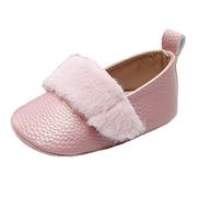أحذية أطفال Fankle تخفيضات التخليص جلد ناعم للأطفال قبل المشي لأول مرة أحذية غير رسمية مضادة للانزلاق نعل صناعي فرو جميل للأطفال حديثي الولادة البنات والأولاد الوردي 1،15