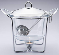 Chef Inox Soup Warmer With Ladle Silver Clear 4 liter
