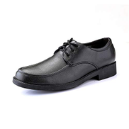 Jingkeji Men's Classic Business Formal Oxfords for Men Outdoor Hiking Work Shoes Synthetic Leather Lace-up Style Rubber Block Heel Fashion Durable Color : Black, Size : 40 EU