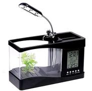 Huayang Mini Usb Lcd Desktop Lamp Light Fish Tank Aquarium Led Clockh4874 Price In Dubai Uae Compare Prices
