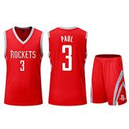 ATI-HSKJ NBA Men's Basketball Jerseys Chris Paul 3 Houston Rockets Basketball Fans Uniform vests Retro Breathable Sleeveless t-shirt set,S:135cm145cm