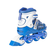 PFJJ Skates, Boys And Girls Set Roller Skates 8 Rounds PU All Flashing Roller Skates, Skates Straight Adjustable Size, Blue 8 Rounds Full Flash - Send Full Set Of Protective Gear glitter roller skates