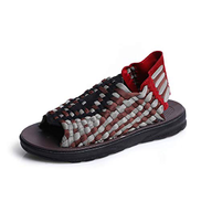 CW-Sandals-0903 Sandals Sandal for Men Slip On Sandals Weaving Fabric Casual Cozy Breathable Cool Summer Sandals CWCUICAN Color : Black rice, Size : 38 EU