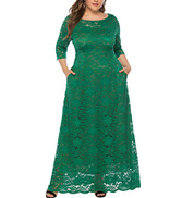 Eternatastic Womens Floral Lace 2 3 Sleeves Maxi Dress Evening Party Long Dress XL Green
