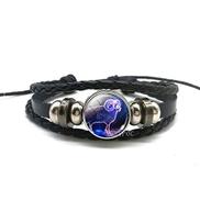 FOERWEI Constellation Bracelet 12 Zodiac Signs Constellations Black Button Woven Leather Bracelet Glass Dome Jewelry Men Aries Libra Libra Leo Birthday Gift