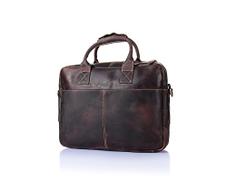 S.Y.MMYS Crossbody Bag Men's Messenger Bag Retro Crazy Horse Skin Leather Laptop Bag Handbag Briefcase Messenger bag Color : Brown, Size : L