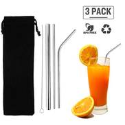 Goolsky 3Pcs Stainless Steel Straws Reusable Straws Set Matte Drinking Straws FDA-Approved BPA Free for All Sizes Tumblers Cold Beverage Cleaning Brush Portable Bag