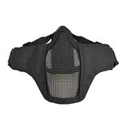 LRKZ Tactical Helmet Mask, Foldable Adjustable Half Tactical Metal Mesh Breathable Protective Mask, Suitable for Outdoor CS Hunting Paintball Shooting Shooting,Bk