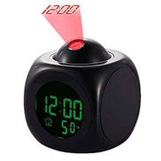Happy Go-Mart Projection Alarm Clock Digital LCD Voice Talking Clock With Temperature Display Snooze Function Bedside Alarm Clock Black