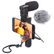 Movo Smartphone Video Rig with Stereo Microphone, Grip Handle, Wrist Strap for Apple iPhone 5, 5S, 6, 6S, 7, 8, X, XS, XS Max, Samsung Galaxy S5, S6, S7, S8, S9, Note Smartphones