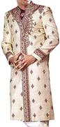 INMONARCH Mens Indian Suit Cream Designer Sherwani Embroidered cream SH0161R50