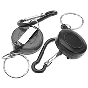 Creative 2Piece Retractable Key Chain Badge Reel Recoil Carabiner ID Ski Pass Holder