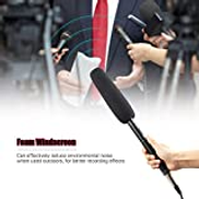 KKmoon Shotgun Microphone Aluminium Alloy Professional Video Camera Mic Super Cardioid Pattern with Shock Mount XLR 3.5mm Cable for Video Conference Windscreen Interview
