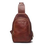 XKU-ZZJY Travel Cosmetic Bag Zipper Leather Diagonal Bag Shoulder Bag Retro Men's Chest Bag Coin Purse Color : Red-brown