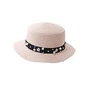 HUDVHSG Sunhat Women Beach Sun Visor Hats Straw Panama For Lady Elegant Pearl Sun Hat Wide Brim Summer Fedora Straw Hat Chapeu children 9