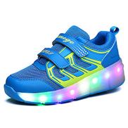 HUSKSWARE Light Up Roller Shoes Wheeled LED Skate Sneakers for Kids Skates Shoes Retractable Wheels 29,Pink