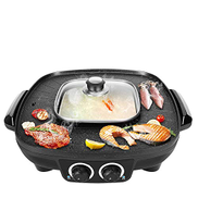 NILINMA Indoor Smokefree Multifunction Barbecue Grill, Outdoor Grill Electric Grill with Glass Cover Is Easy to Clean and Portable Design