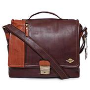 Laveri 2491SNHLDBRNWG Unisex Messenger Bag - Leather