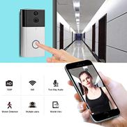 Readygoo Security, alarm, doorbell VESAFE VSA5 HD 720P Security Camera Smart WiFi Video Doorbell Intercom, Support TF Card & Infrared Night Vision & Motion Detection App for IOS and Android Color : Silver
