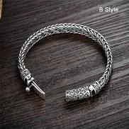 WZZNB Men'S Sterling Silver Bangles Handmade heavy silver bracelet sterling silver bracelet bracelet men's knight jewelry 17 cm - 22 cm