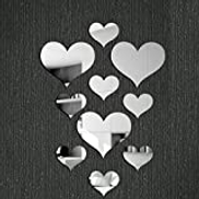 CHENGZ 10pcs Love Heart Acrylic 3D Mirror Wall Sticker Mural Decal Removable Stickers