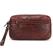 MIJOGOO Men's hand bag three-dimensional square large capacity handmade leather retro clutch dd