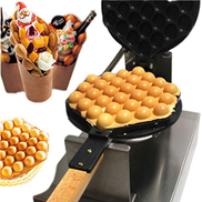DAETNG 180 Rotary Waffle Maker Iron, 30pcs Egg Cake Maker Machine Electric Non-Stick Oven Puff Bread Maker Stainless Steel, 1300W Electric Waffle Machine with Temperature Control