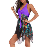 Starryflashing Maternity Swimwear Tankini Women Two Piece Floral Print Swimwear Ladies V-neck Sleeveless Fashion Print Tankini Asymmetric Swimdress Bathing Suit