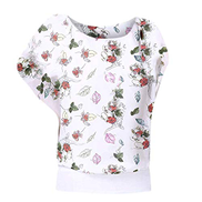 Dubocu Women T-Shirt Crew Neck Bat Sleeve Floral Printed Summer Loose Casual Tops Blouse Tunics PulloverWhite,S