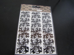 SKINZ by Babe Skinz Nail Decals 24 Count Black and White Floral