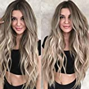 Beauty Clearance Sale Women Mix Colors Gradient Long Curly Synthetic Wig Full Wig Wavy Wig