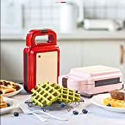 SHYPNA Multifunction Mini Waffle Maker, Sandwich Toaster 2 in 1 with Deep NonStick Plates, Automatic Temperature Control, Electric Grill Press Perfect for Toasted Cheese Snacks Color : Pink