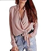 VITryst-Women Tie Neck Long Sleeve Top
