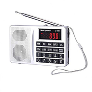 LCG LCJ Portable FM AM Shortwave Multiband Radio Receiver with Micro TF Card, USB Driver MP3 Player, USB Charging Cable and 1000MAH Rechargeable Li-ion Battery L-258-Sliver