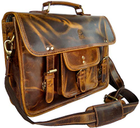 Rustic Town 15 Inch Leather Vintage Rustic Crossbody Messenger Satchel Bag Gift Men Women Business Work Briefcase Carry Laptop Computer Book Handmade Rugged & Distressed