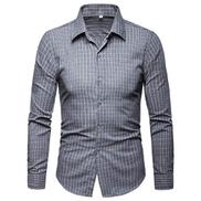 Eslan Men's Fashion Casual Slim Fit Personality Lattice Long Sleeve Shirts