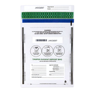 Juvale Deposit Bags - 100-Piece Tamper-Evident Bags, Tamper Proof Self-Adhesive Seal Clear Plastic Poly Bags for Bank Deposits, Transparent, 13.19 x 8.86 Inches