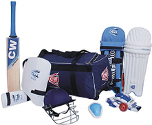 Cricket World CW Academy Complete Cricket Set Junior Size 5 with Wooden Bat Leather Ball in Equipment Storage Bag for 9-10 Yr