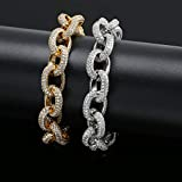 WZZNB Men'S Sterling Silver Bangles 15mm width twisted chain men's bracelet ice out Bling cubic zirconia hip hop punk gold silver charm