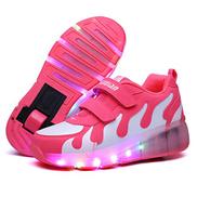 ST-JK Roller Shoes Girls Roller Skate Shoes Boys Kids LED Light up Wheel Roller Sneakers Shoes Wheels for Kids Best Gifts,Pink,39