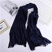 STKJSHOP new arrived women scarf solid cotton scarves lady shawls and wraps big size pashmina female hijab warm winter scarf stoles,blue
