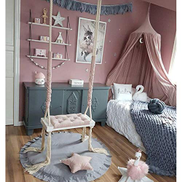 Fangx Kid Swing Chair Child Hanging Chair Wooden Swing Seat With Sponge Pad Cotton Rope And Armrest Cover Rope Chair Support 150kg Pink Price In Dubai Uae Compare Prices