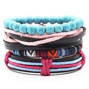 ADYOGER Leather Wristband Vintage 4 Piece Set Tissue Weave Blue Stone Beads Charm Black Brown Leather Bracelet Ladies Men'S Ladies Men'S Jewelry
